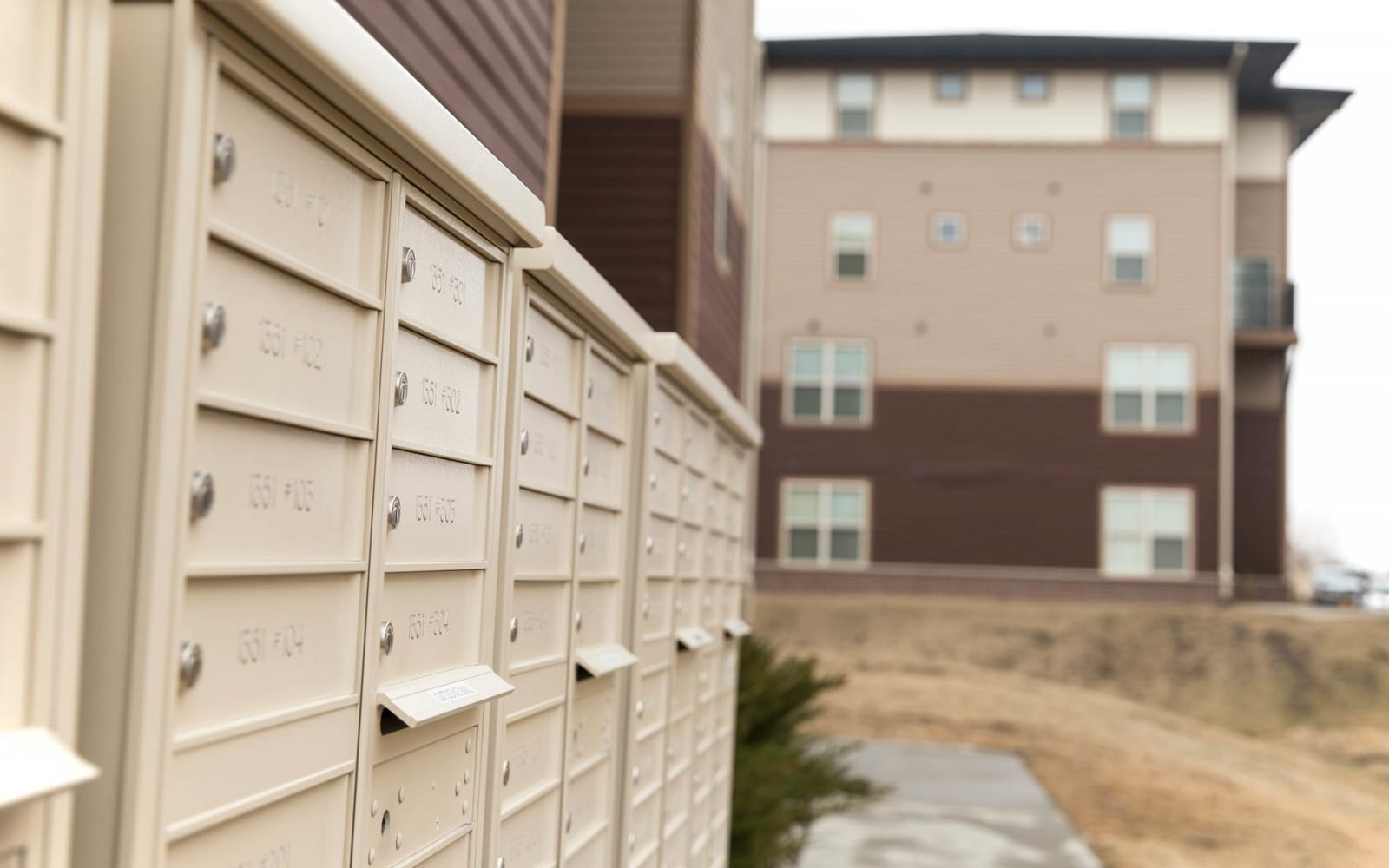 Mail boxes at Prairie Pointe Student Living in Ankeny, Iowa