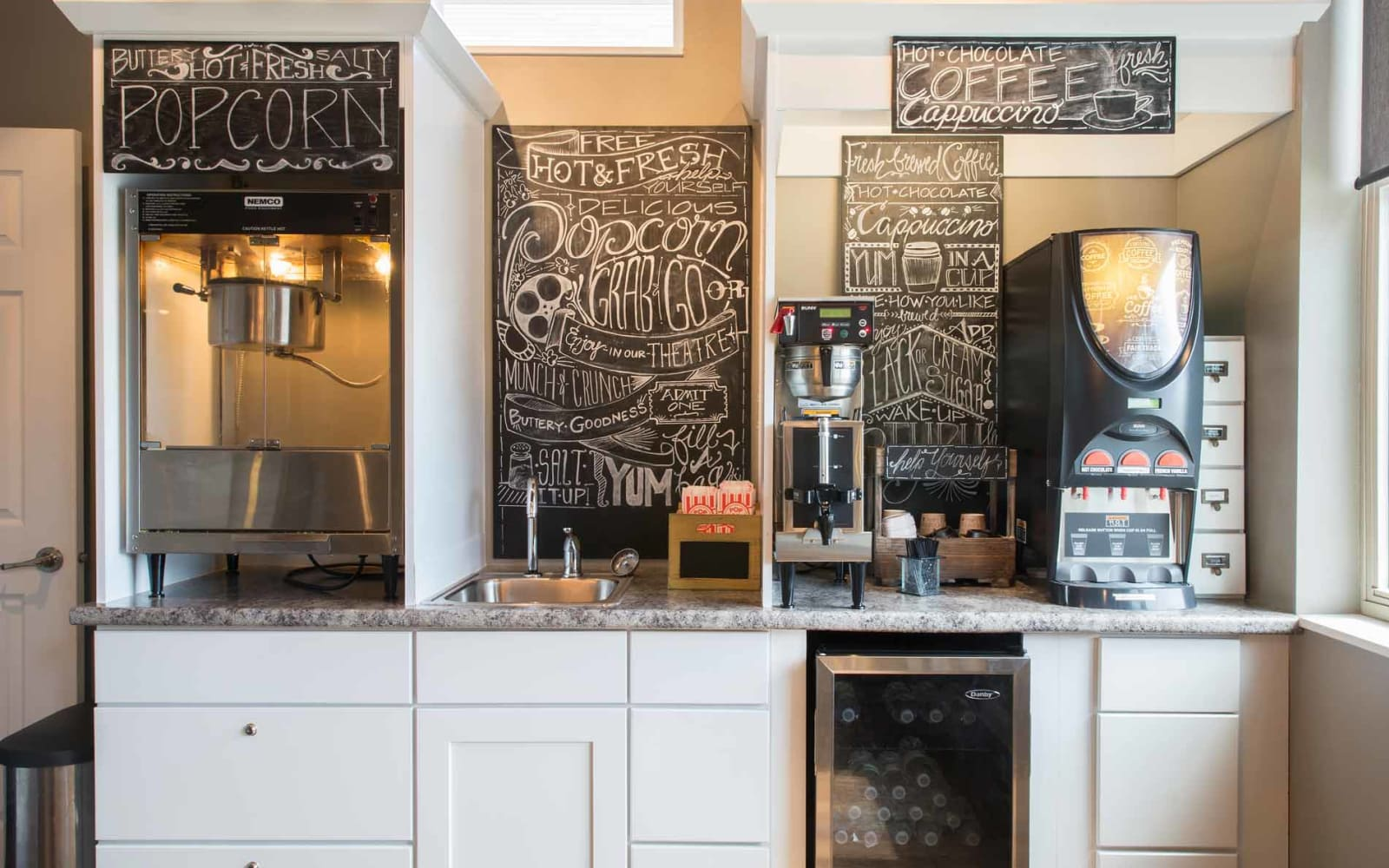 Coffee and popcorn bar at Prairie Pointe Student Living in Ankeny, Iowa