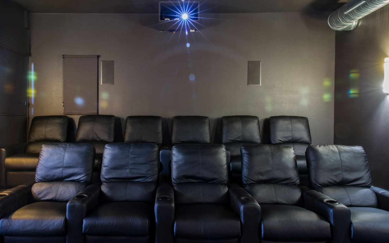 Community movie theater at Prairie Pointe Student Living in Ankeny, Iowa