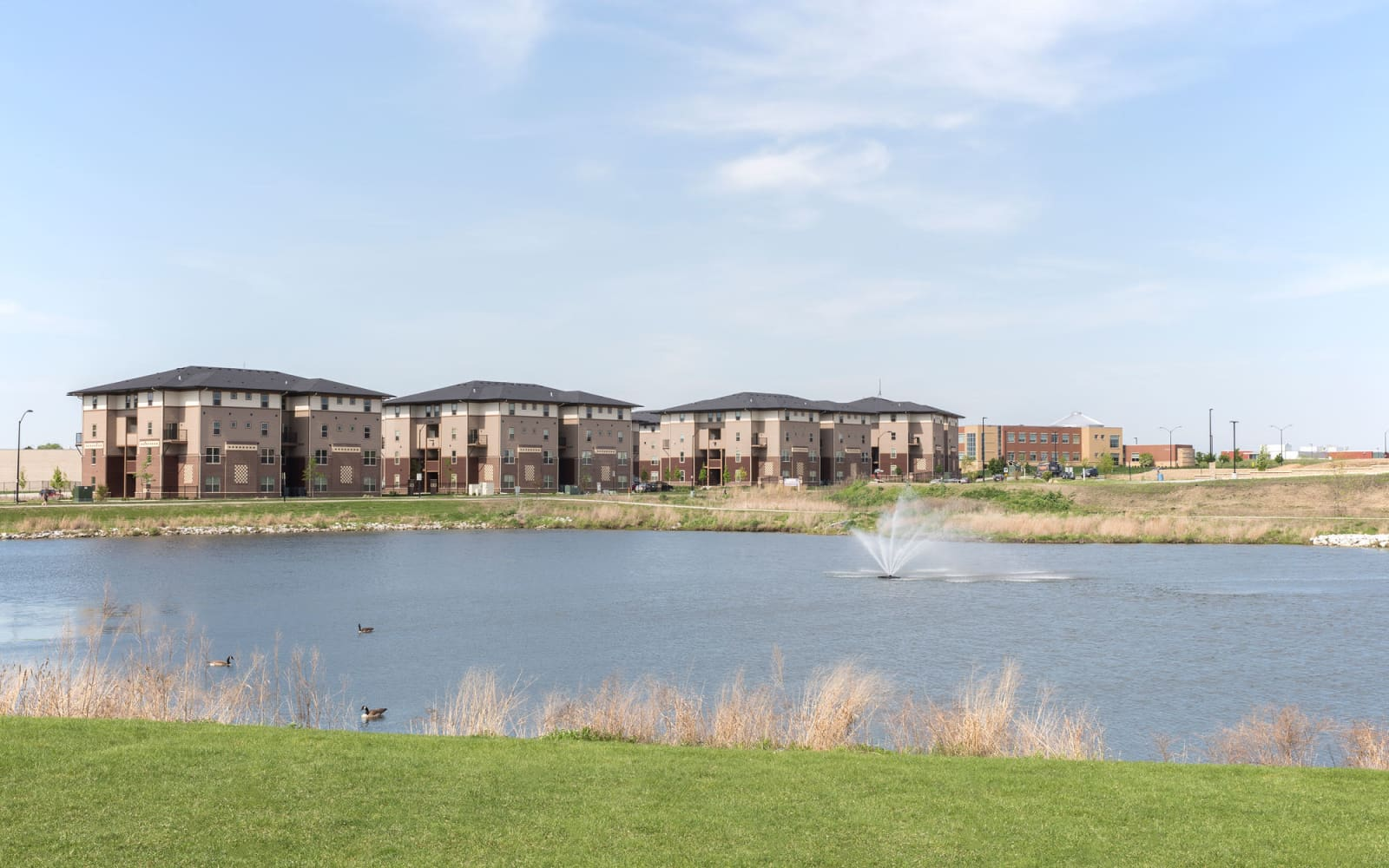 Pond outside Prairie Pointe Student Living in Ankeny, Iowa
