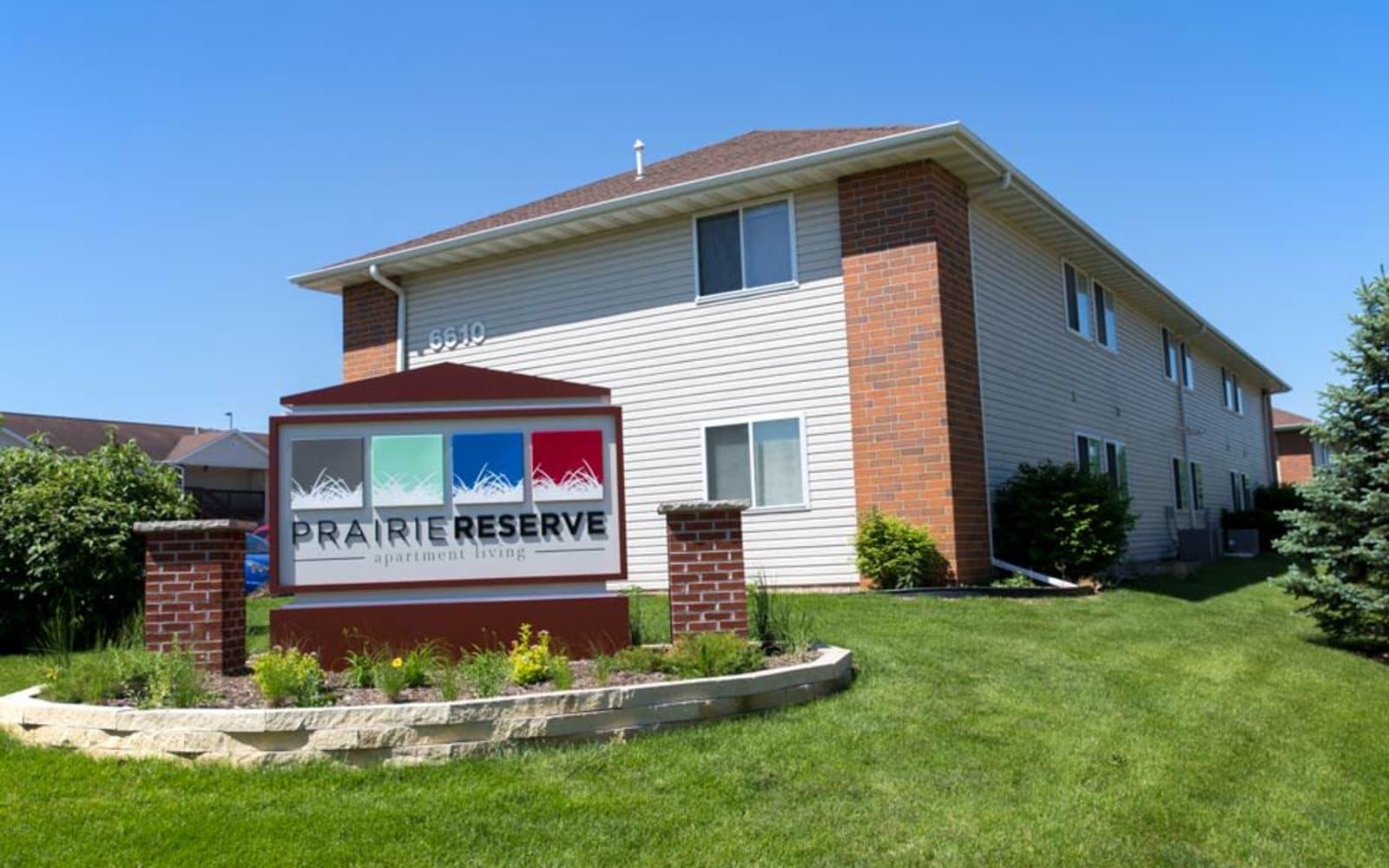 Branding and signage at Prairie Reserve in Cedar Rapids, Iowa