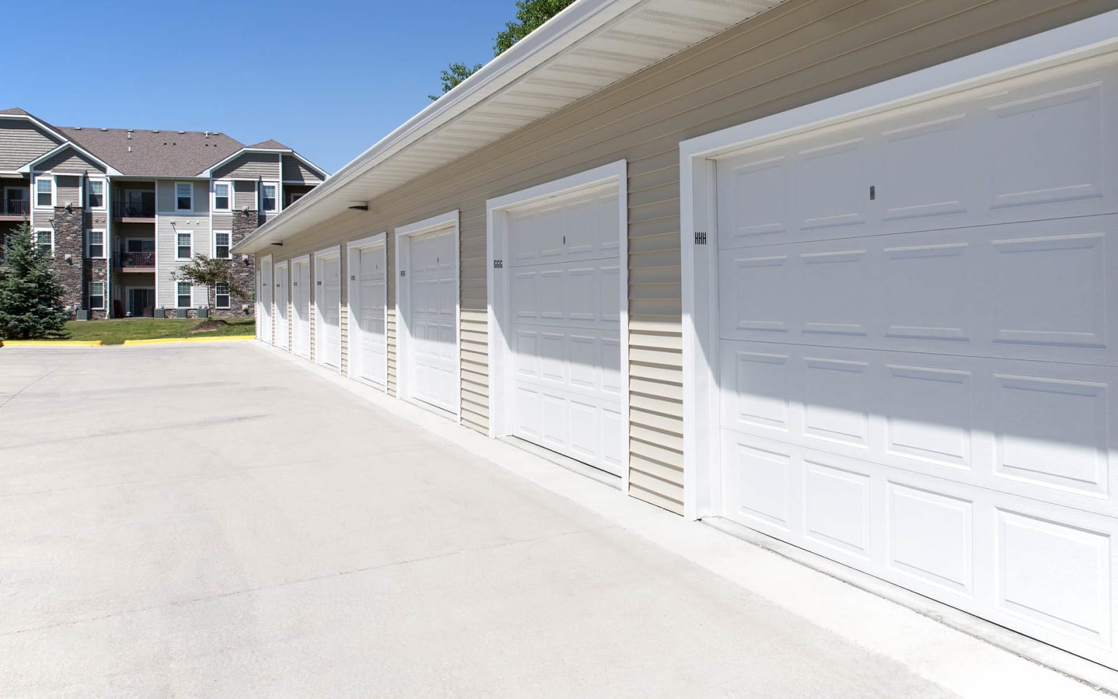 Resident garages at Providence Pointe in Johnston, Iowa