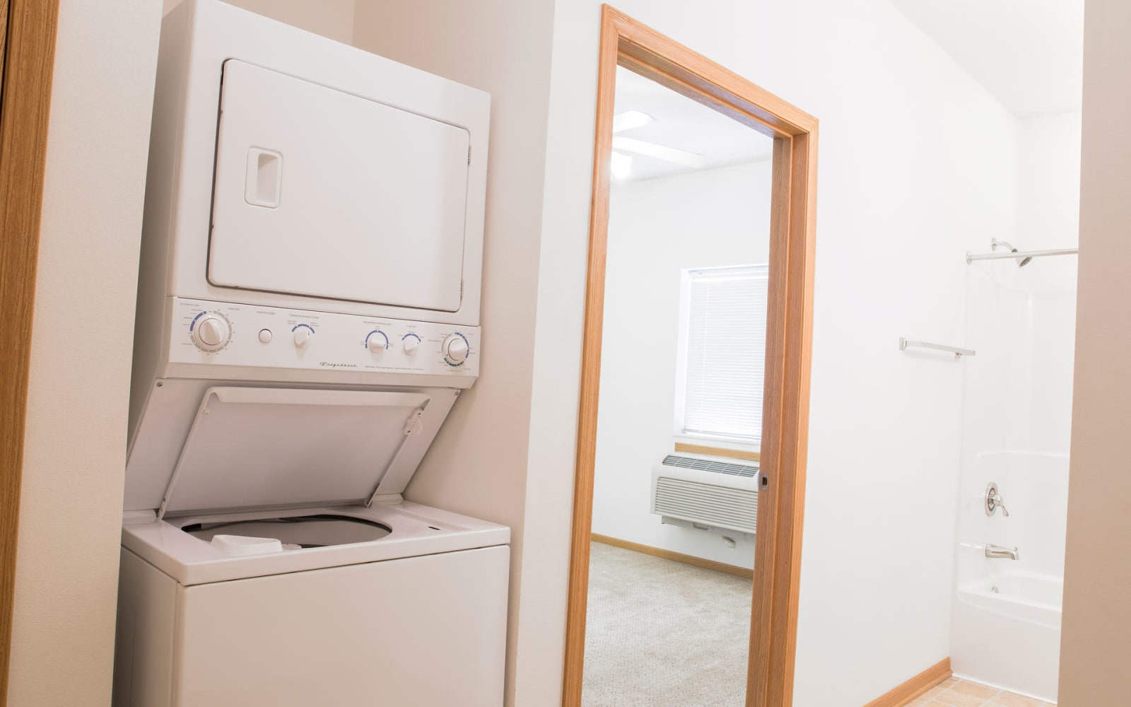 A stacked washer and dryer at Westwood Village in Ames, Iowa