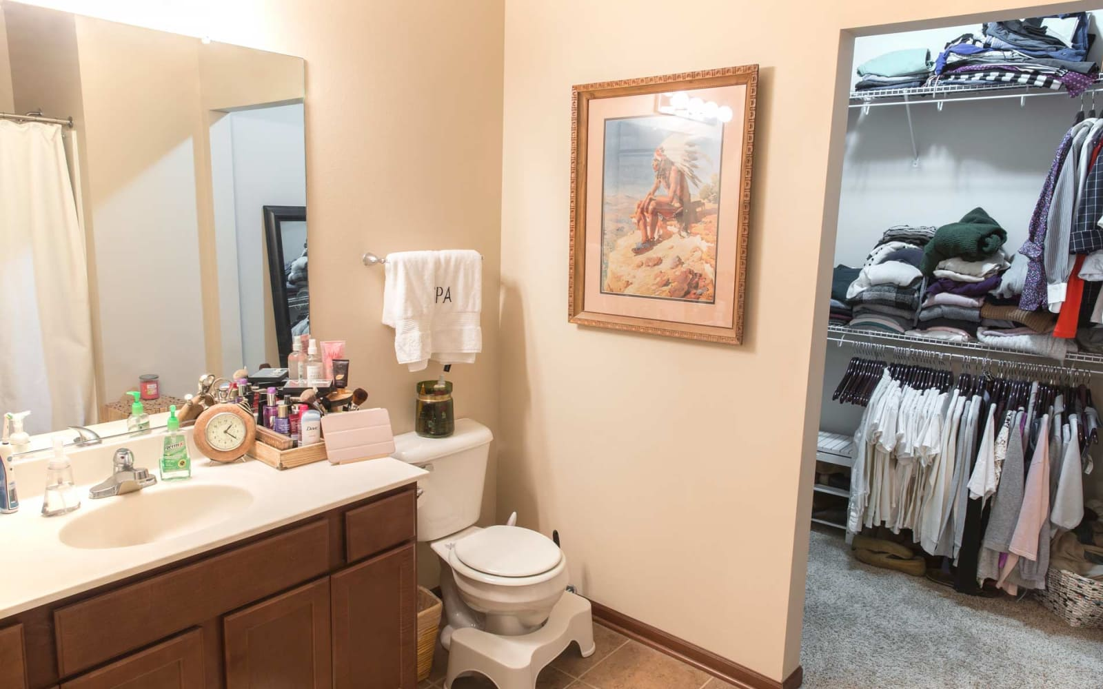 Bathroom with a walk in closet at Woodland Reserve in Ankeny, Iowa