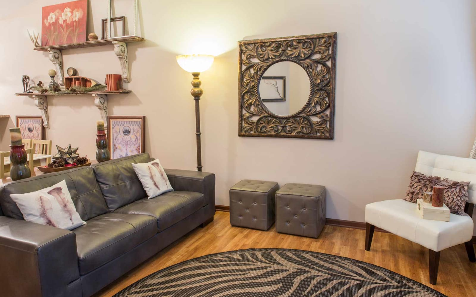 Cozy apartment living room at Woodland Reserve in Ankeny, Iowa