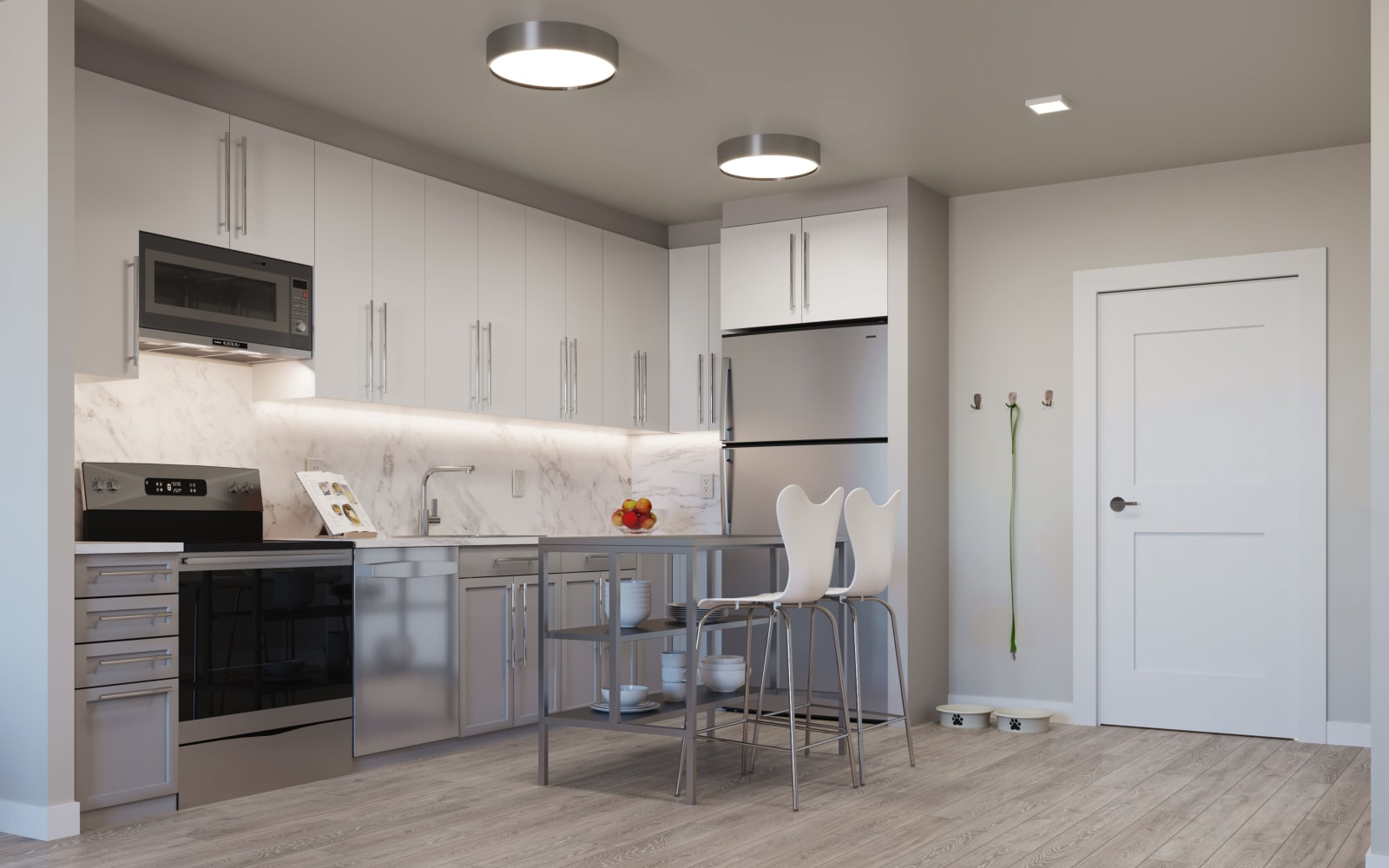 North Square Apartments at The Mill District offers a kitchen in Amherst, Massachusetts