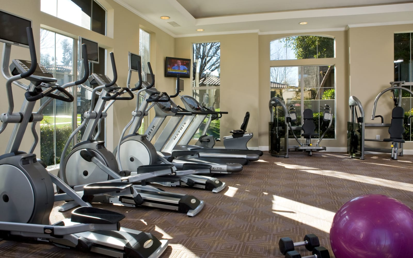 Fully-equipped fitness center at Castlerock at Sycamore Highlands in Riverside, California
