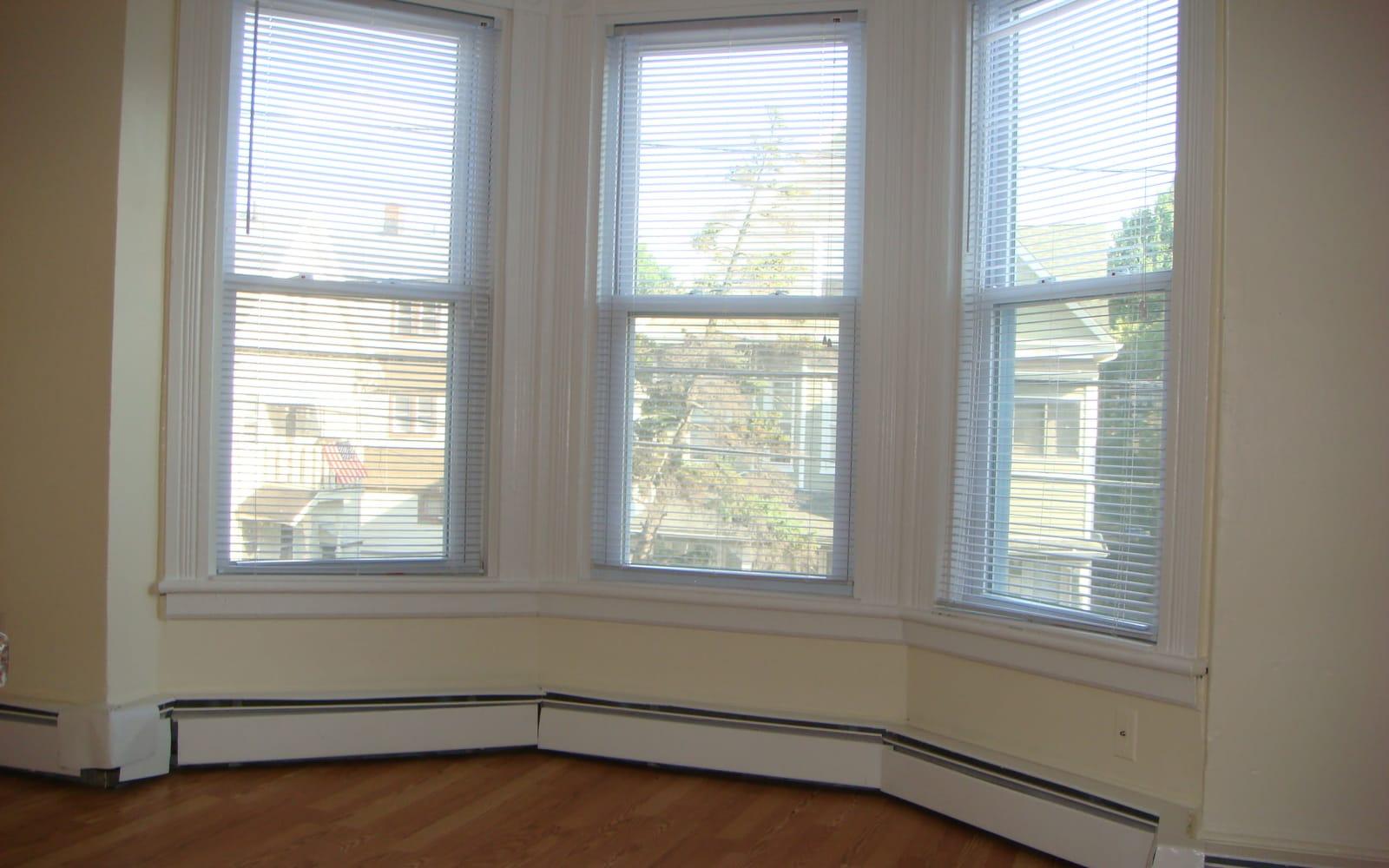 Bay window in apartment at 400 Atlantic in Bridgeport, Connecticut