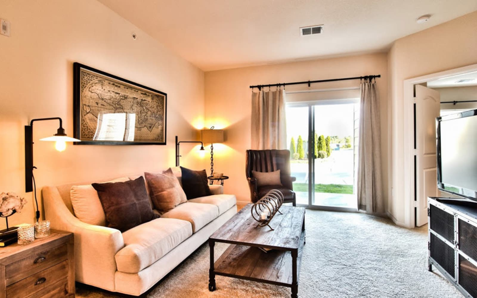 Large living rooms at Aventura at Mid Rivers in Saint Charles, Missouri.