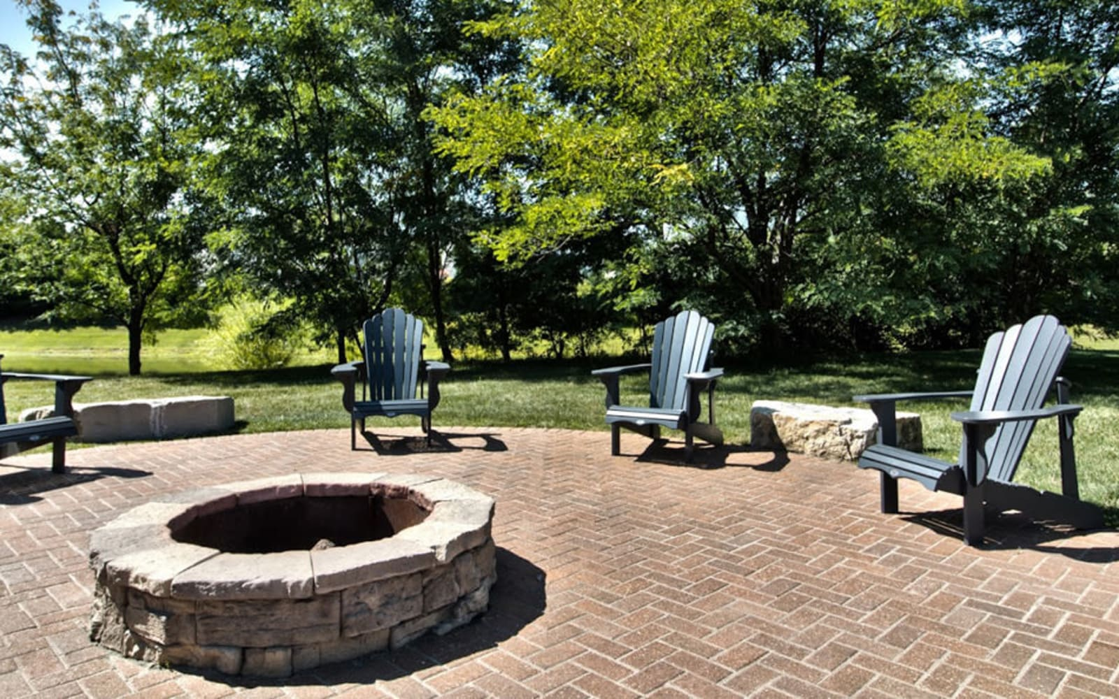 Resident fire pit at Aventura at Richmond in Saint Peters, Missouri.