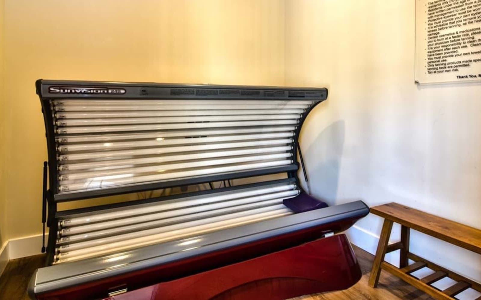 Resident tanning bed at Aventura at Richmond in Saint Peters, Missouri.