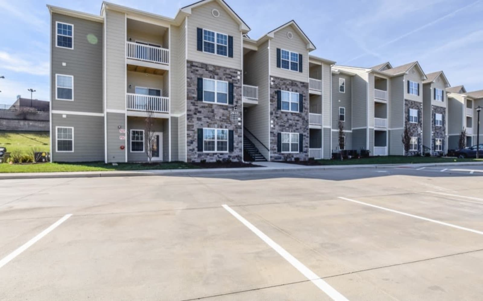 Private patio or balcony at Aventura at Towne Centre in Ellisville, Missouri.
