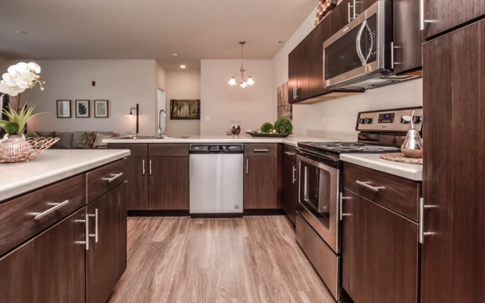 Large resident kitchens at Aventura at Towne Centre in Ellisville, Missouri.