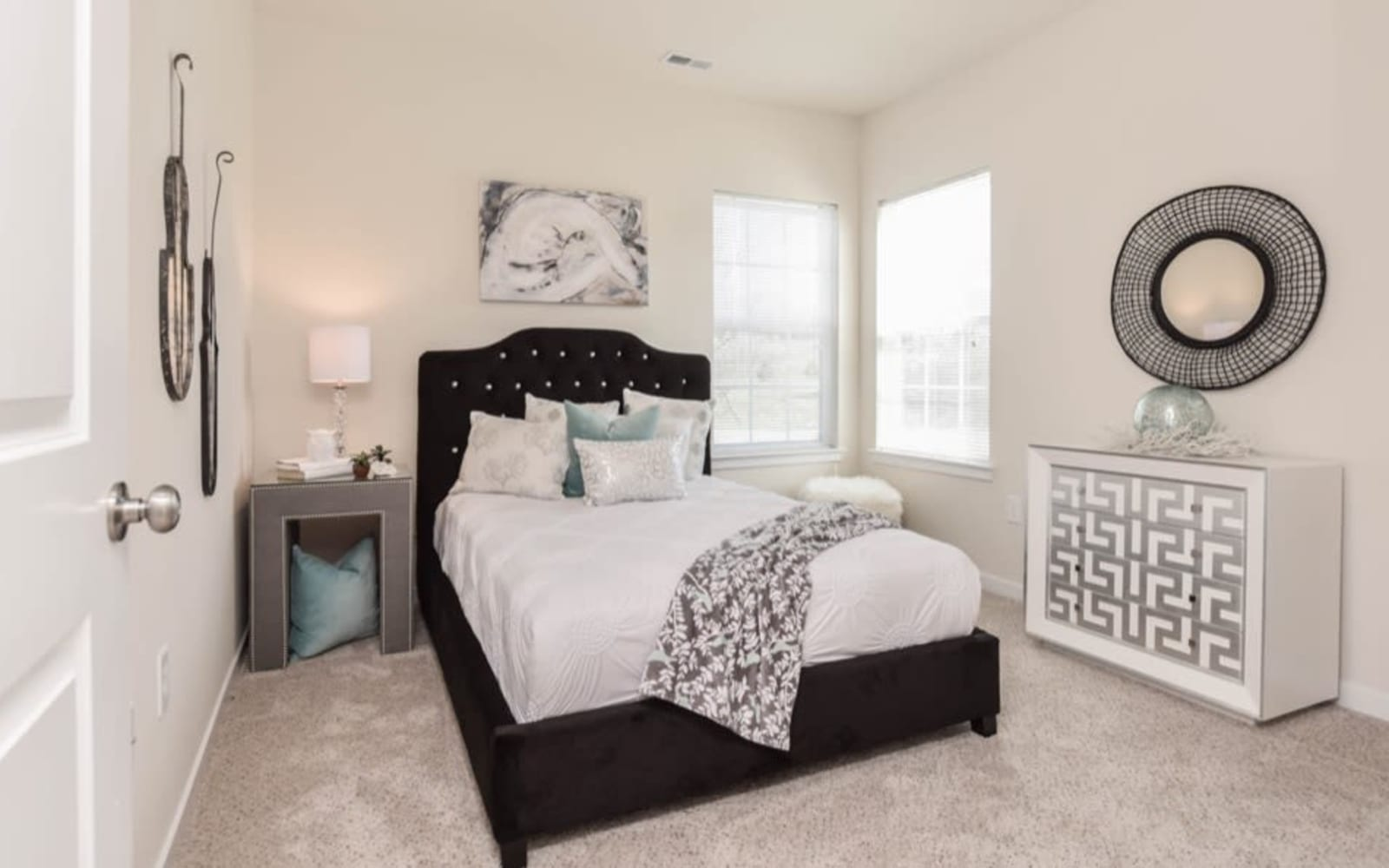 Bedrooms with natural light at Aventura at Towne Centre in Ellisville, Missouri.