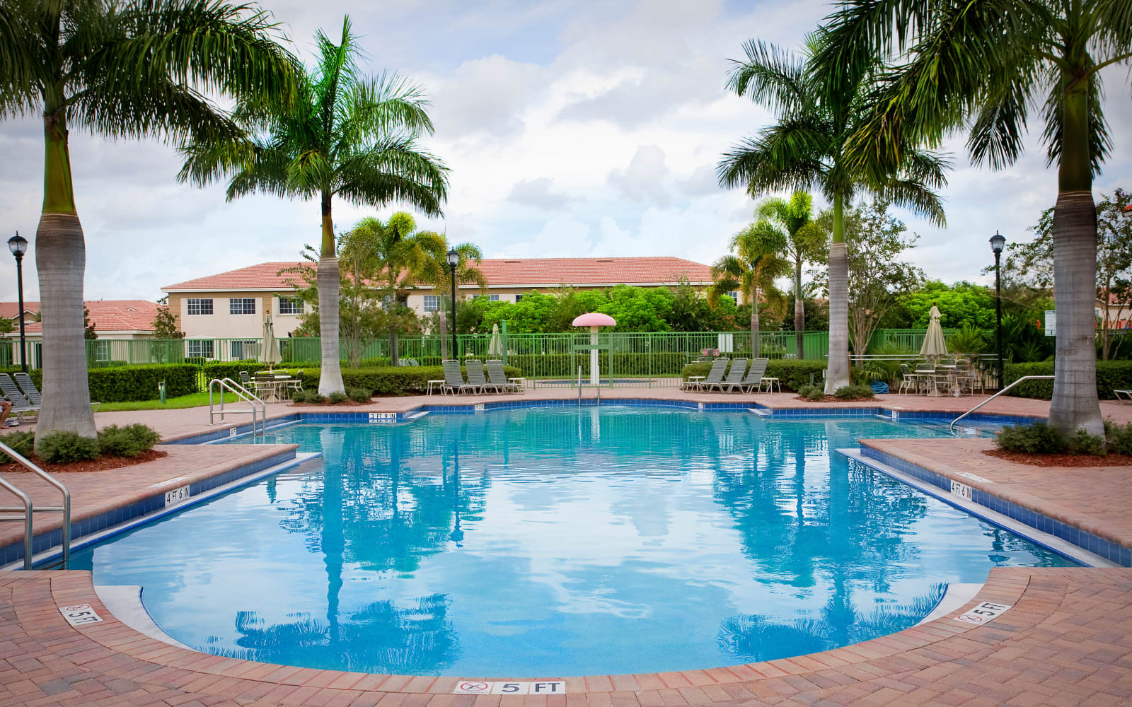 Beautiful pool reflection at Green Cay Village in Boynton Beach, Florida
