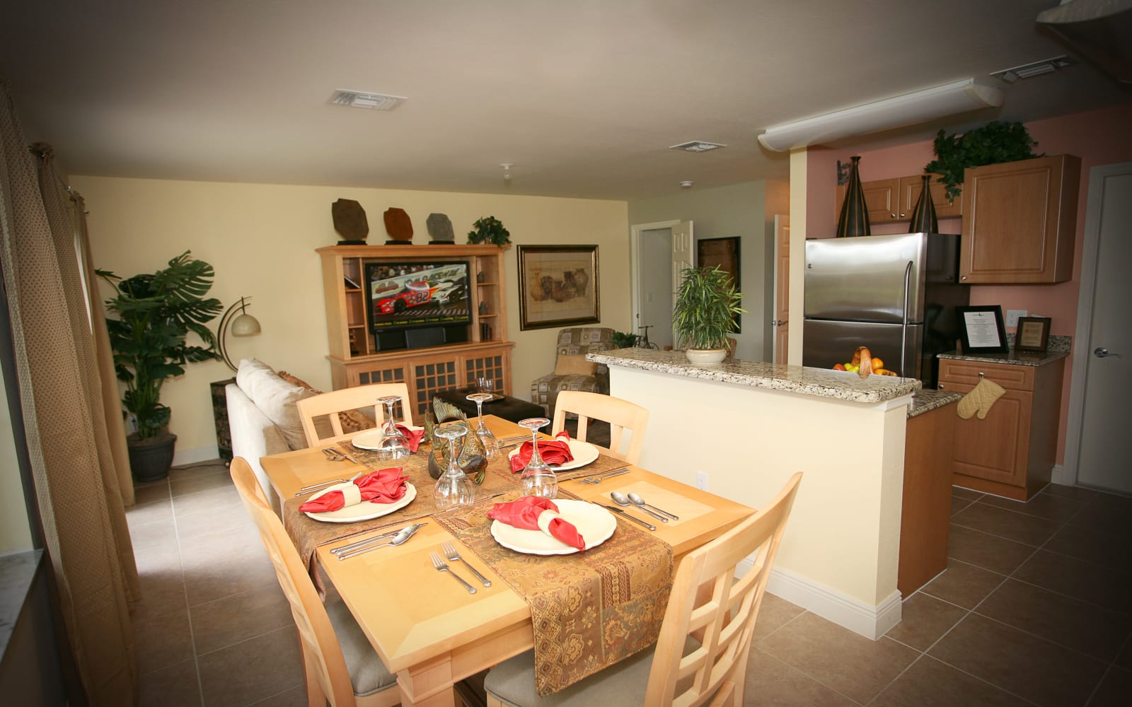 Kitchen and dining room at Green Cay Village in Boynton Beach, Florida