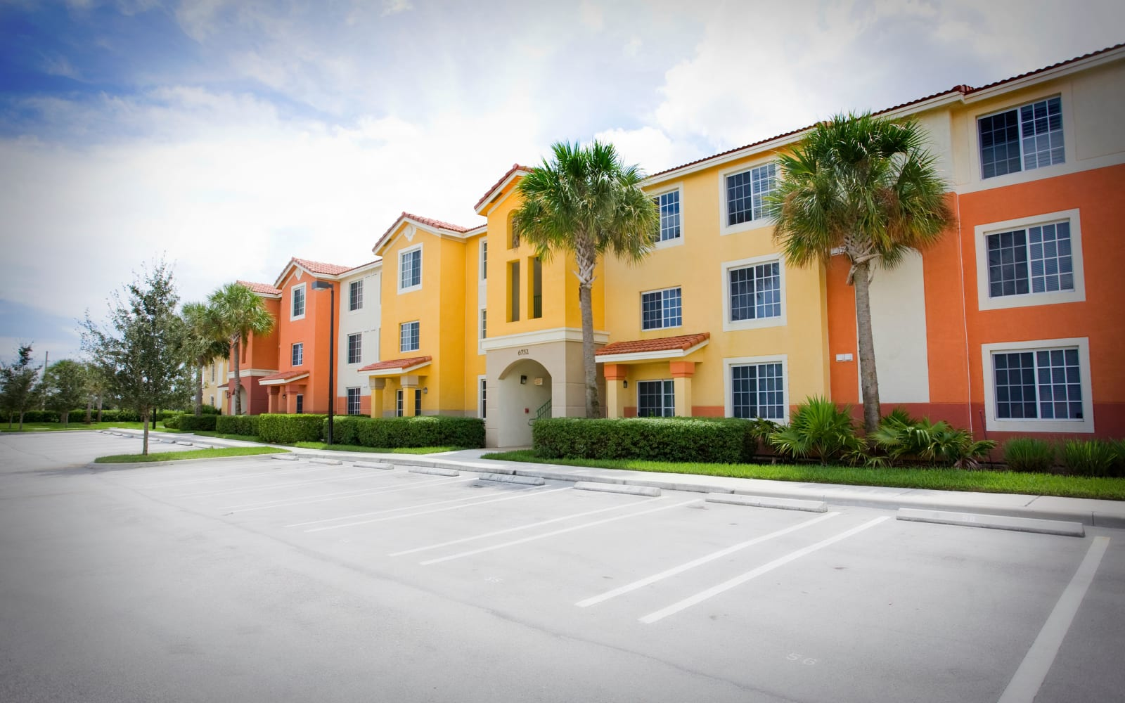 Colorful row of homes at Green Cay Village in Boynton Beach, Florida