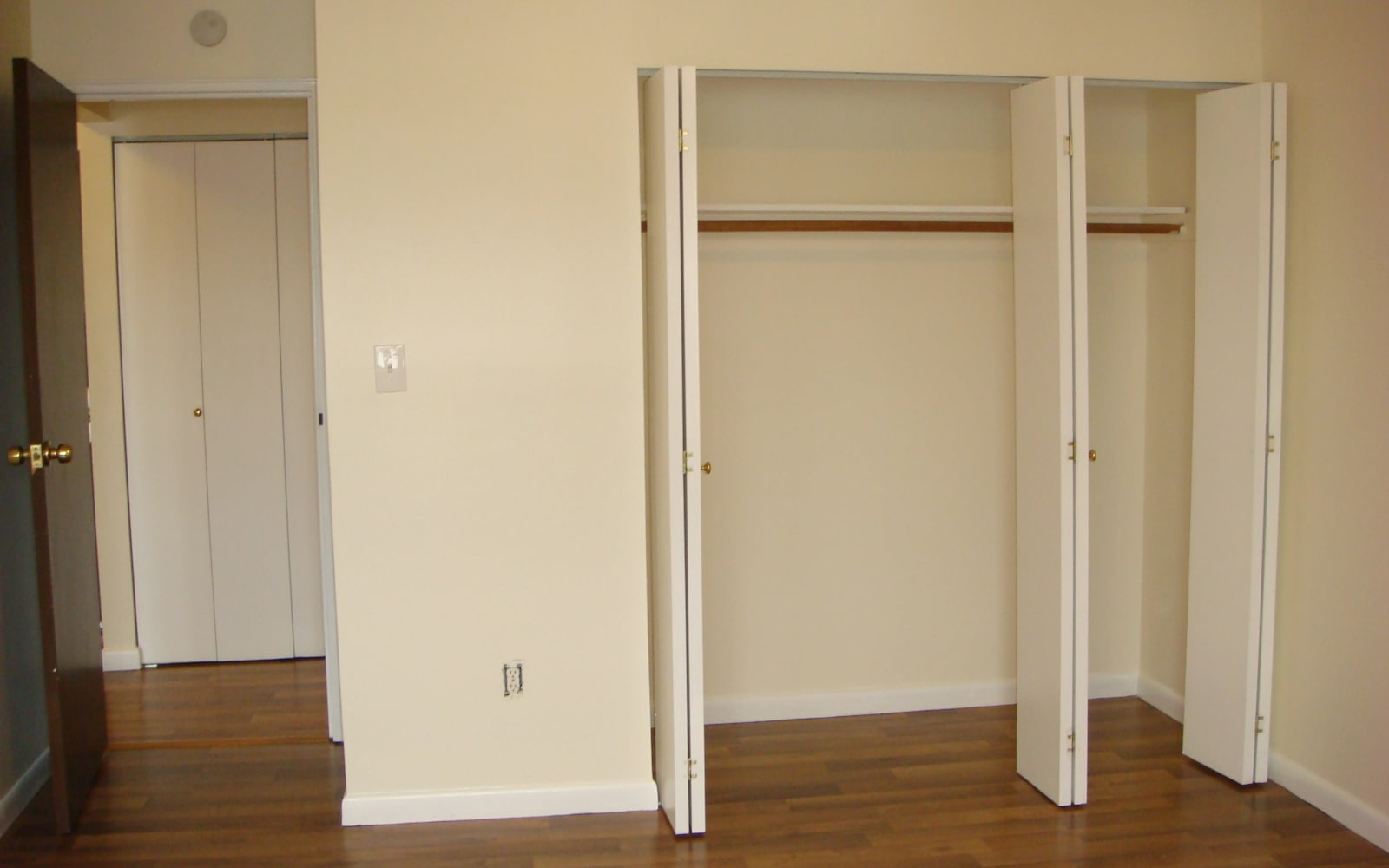 Large closets in the bedroom at Ellsworth Apartments in Bridgeport, Connecticut