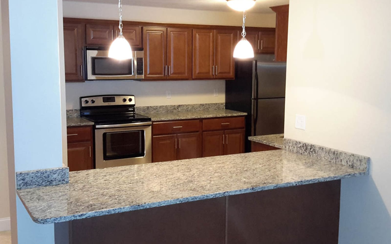 Large counter tops at Grassfields Commons in Dracut, Massachusetts