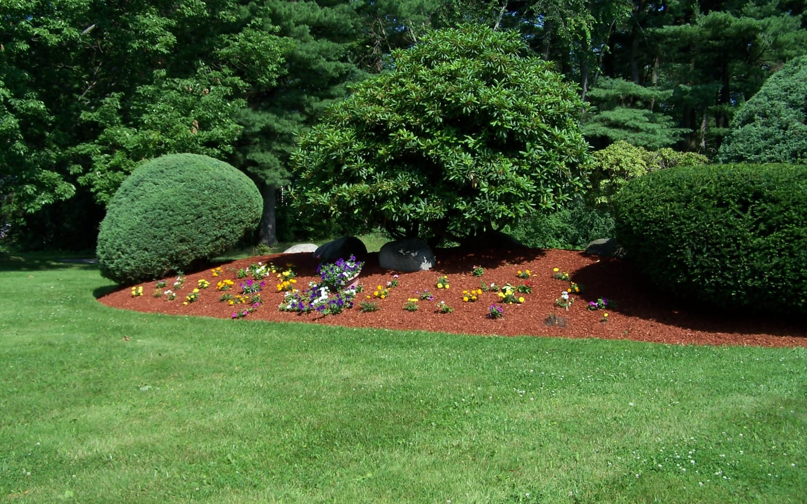 Enjoy lush landscaping at Westgate Arms Apartments in Salem, New Hampshire