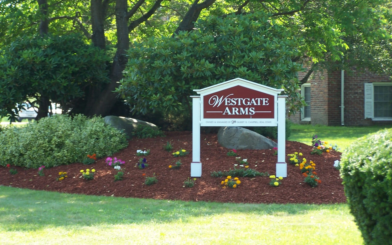 The front entrance sign at Westgate Arms Apartments in Salem, New Hampshire