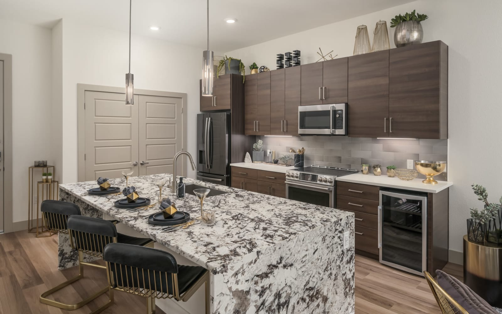 Upgraded island counter tops in the penthouse kitchen at The District at Scottsdale in Scottsdale, Arizona