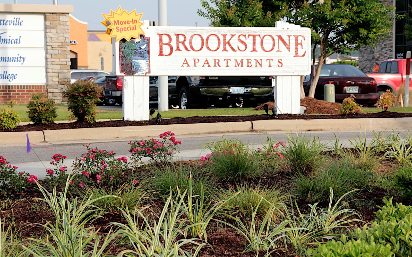 Brookstone Apartments in Fayetteville, North Carolina, front entrance sign