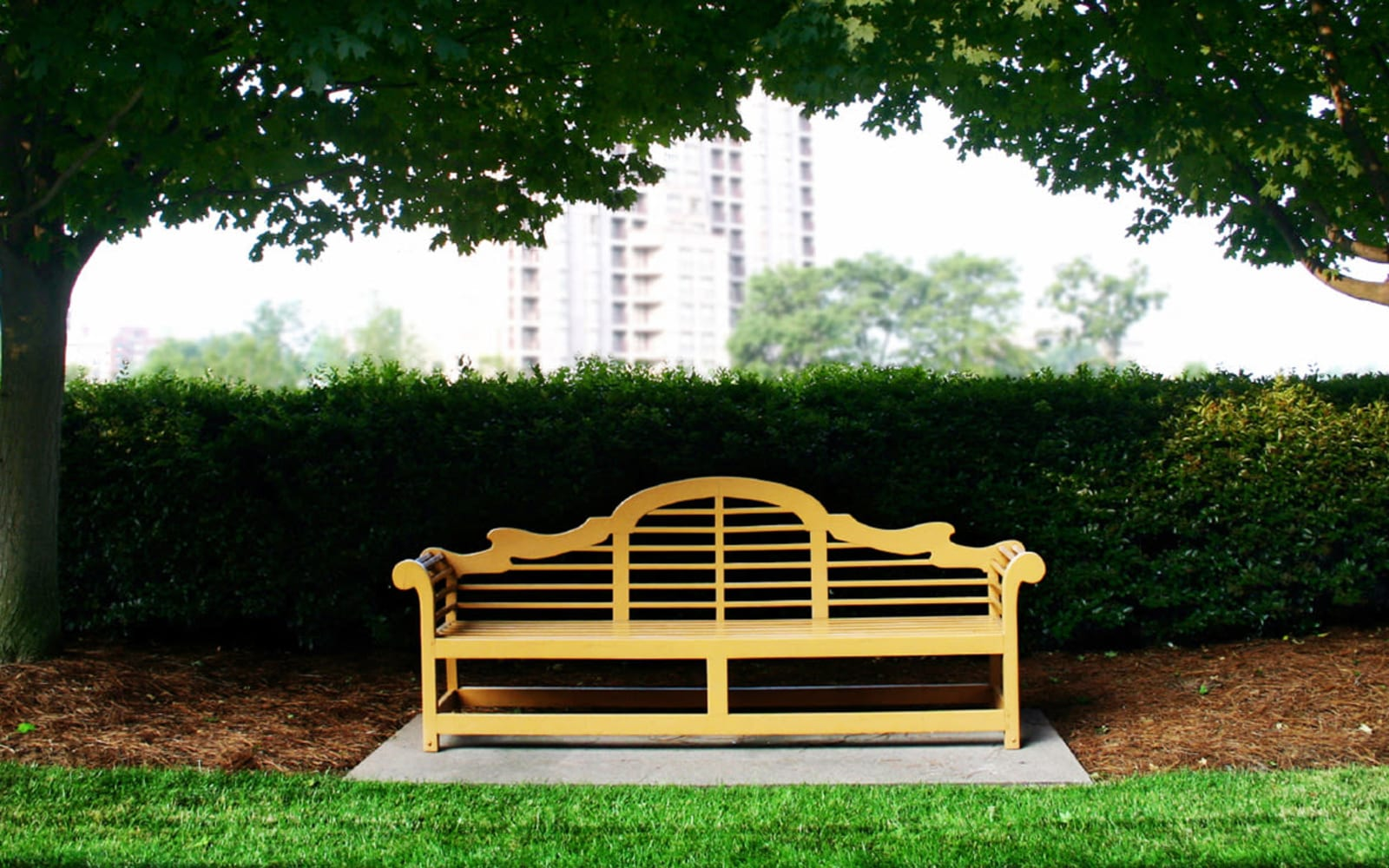 A welcoming bench near Falcon Village Apartments in Fayetteville, North Carolina