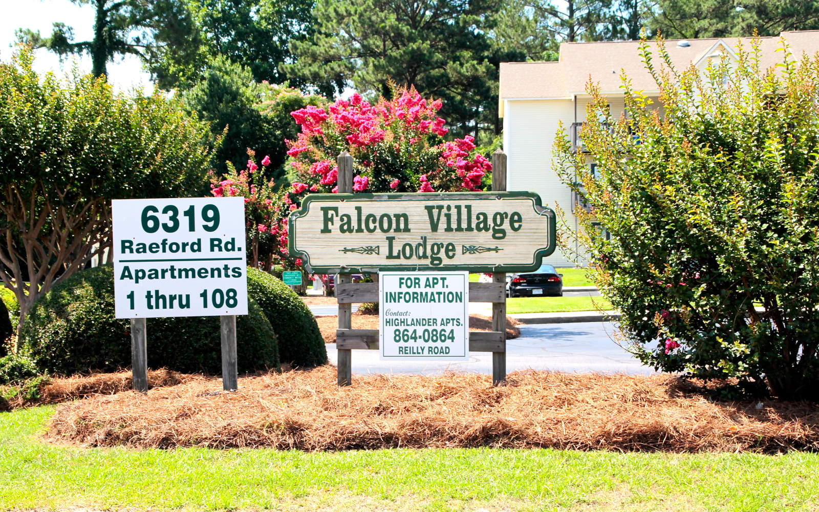 Front entrance sign outside of Falcon Village Apartments in Fayetteville, North Carolina
