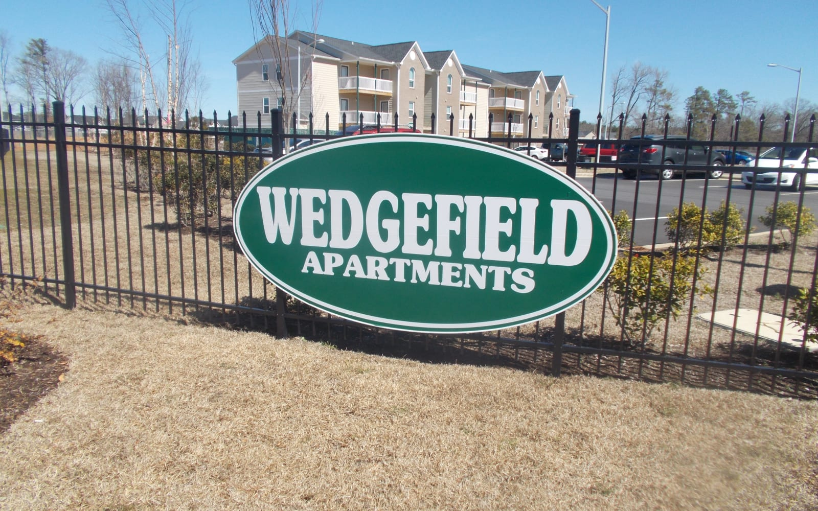 Sign outside of the new building at Wedgefield Apartments in Raeford, North Carolina
