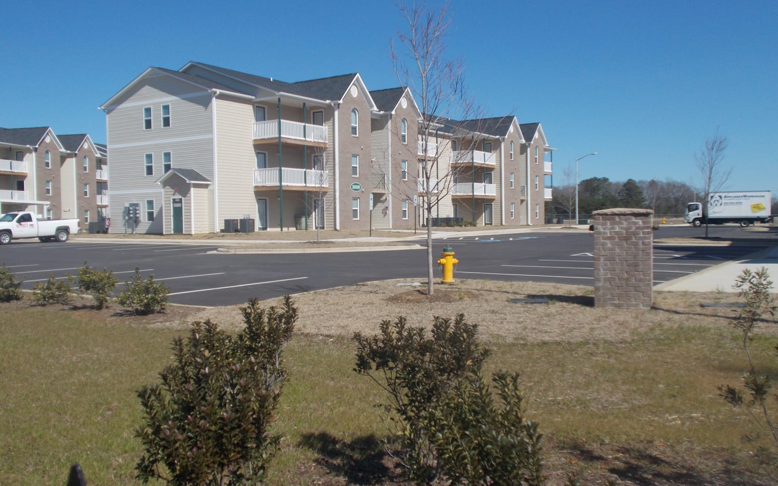 View of the apartment building at Wedgefield Apartments in Raeford, North Carolina
