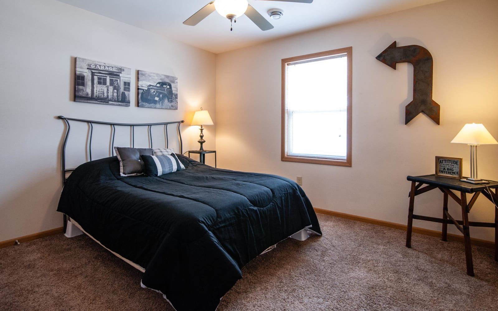 Bedroom with carpet at South Meadow in Ames, Iowa.