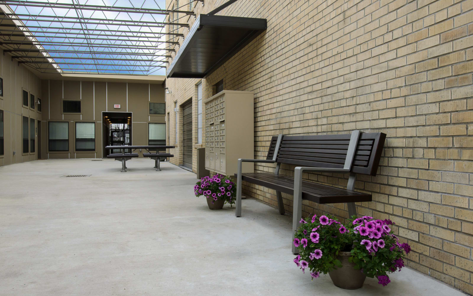 Front entrance bench at Gold Seal Lofts in New Orleans , Louisiana