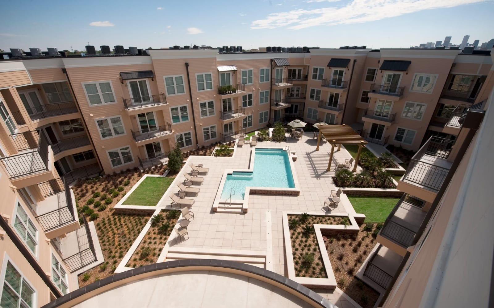 Aerial view of the courtyard and pool at The Preserve in New Orleans, Louisiana