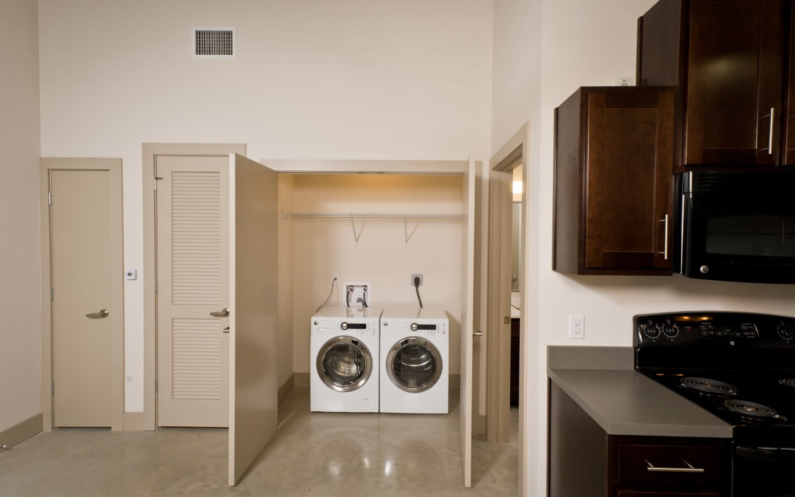 In-home washer and dryer at Gold Seal Lofts in New Orleans, Louisiana