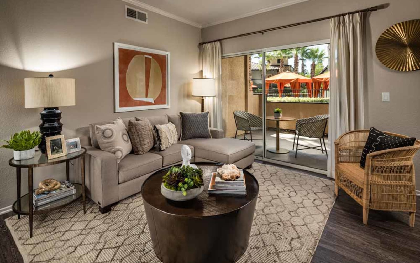 Comfortable seating in a living room at Colonnade at Sycamore Highlands in Riverside, California