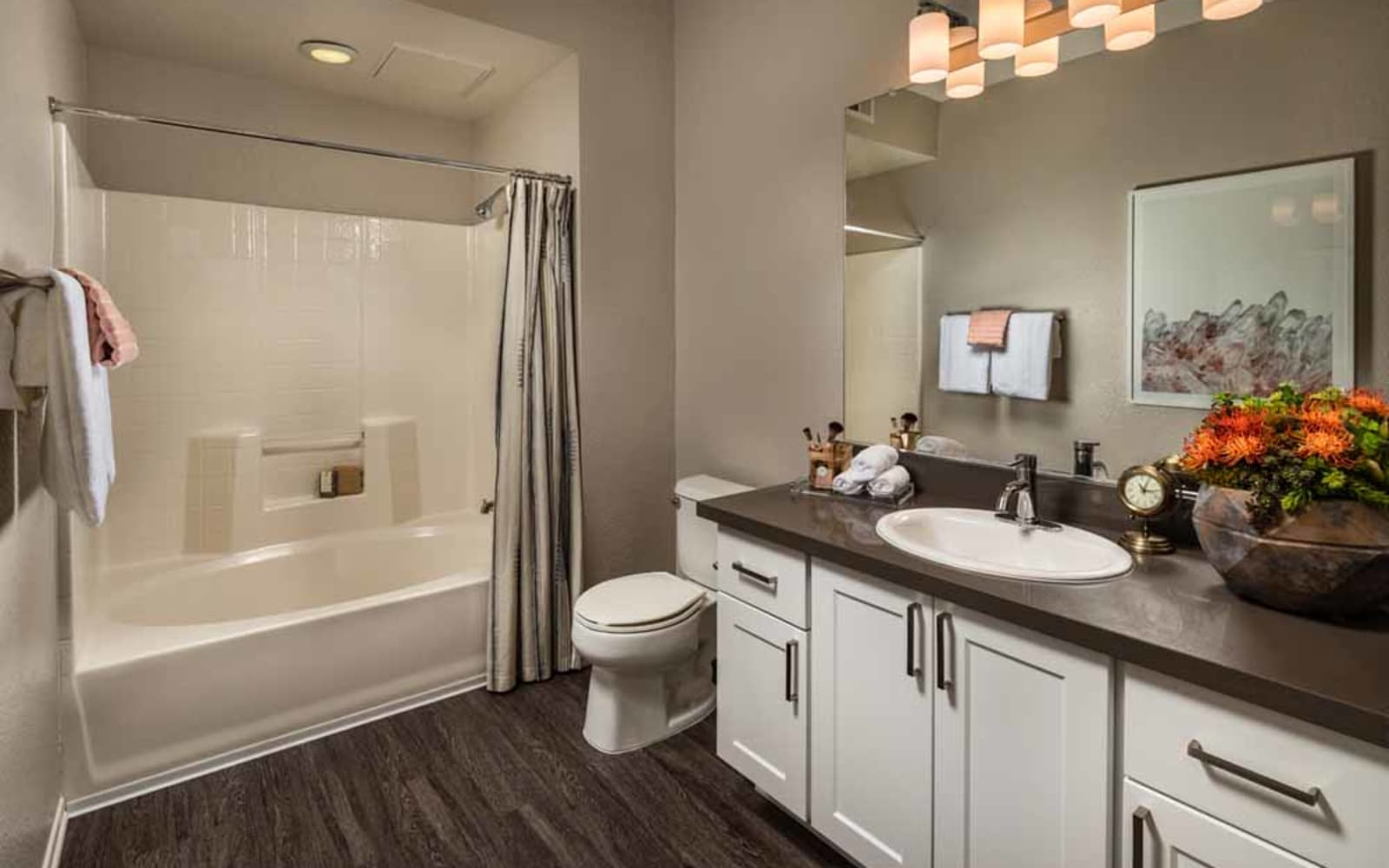 The master bathroom at Colonnade at Sycamore Highlands in Riverside, California