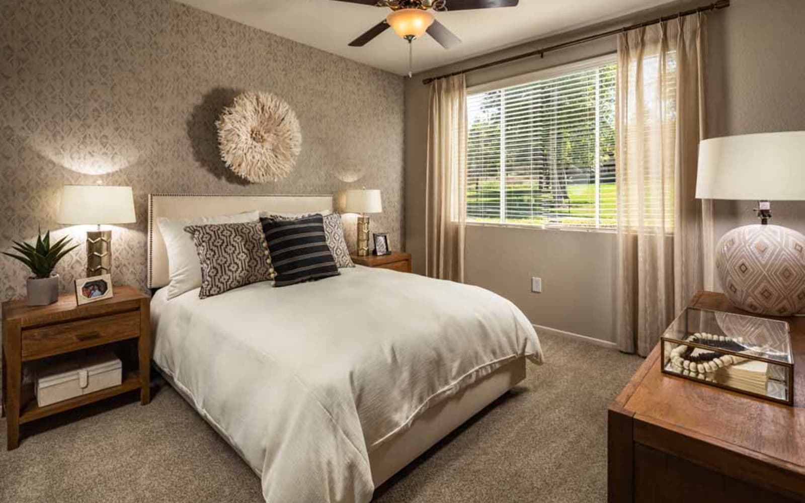 A spacious master bedroom at Colonnade at Sycamore Highlands in Riverside, California