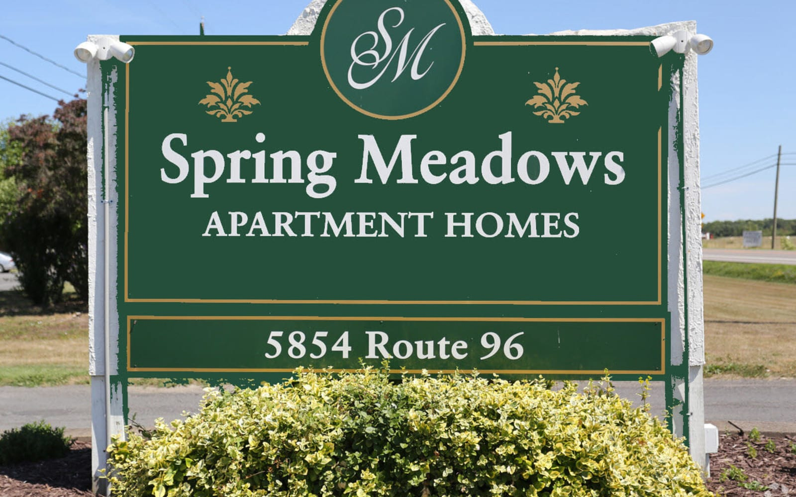 Main entrance to Spring Meadows in Romulus, New York
