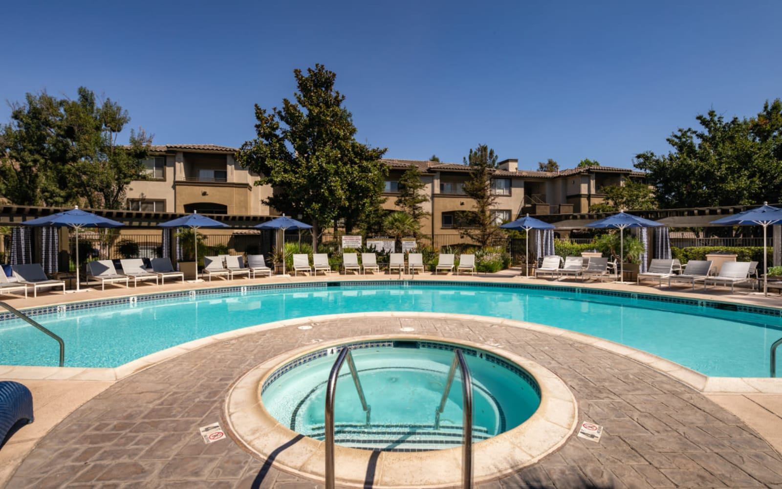 The community hot tub and pool at Castlerock at Sycamore Highlands in Riverside, California