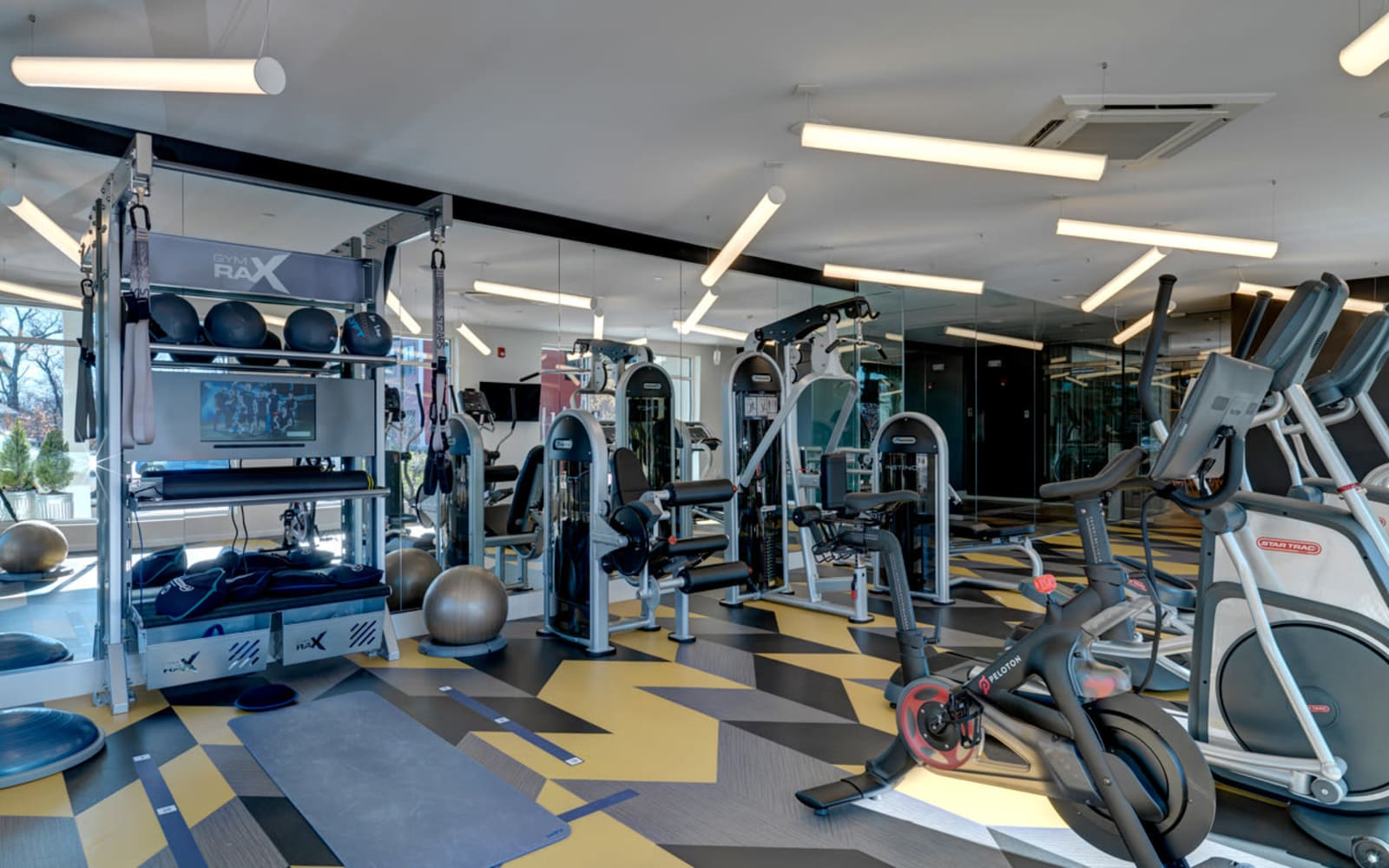 Fitness center at North Square Apartments at The Mill District in Amherst, Massachusetts