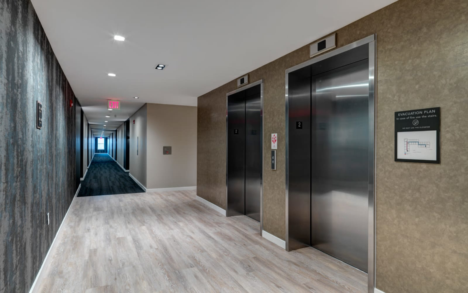 Elevator lobby at North Square Apartments at The Mill District in Amherst, Massachusetts