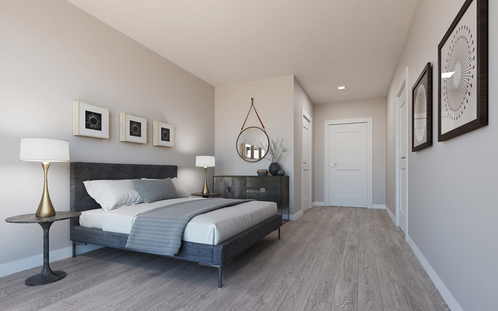 Spacious bedrooms at North Square Apartments at The Mill District in Amherst, Massachusetts