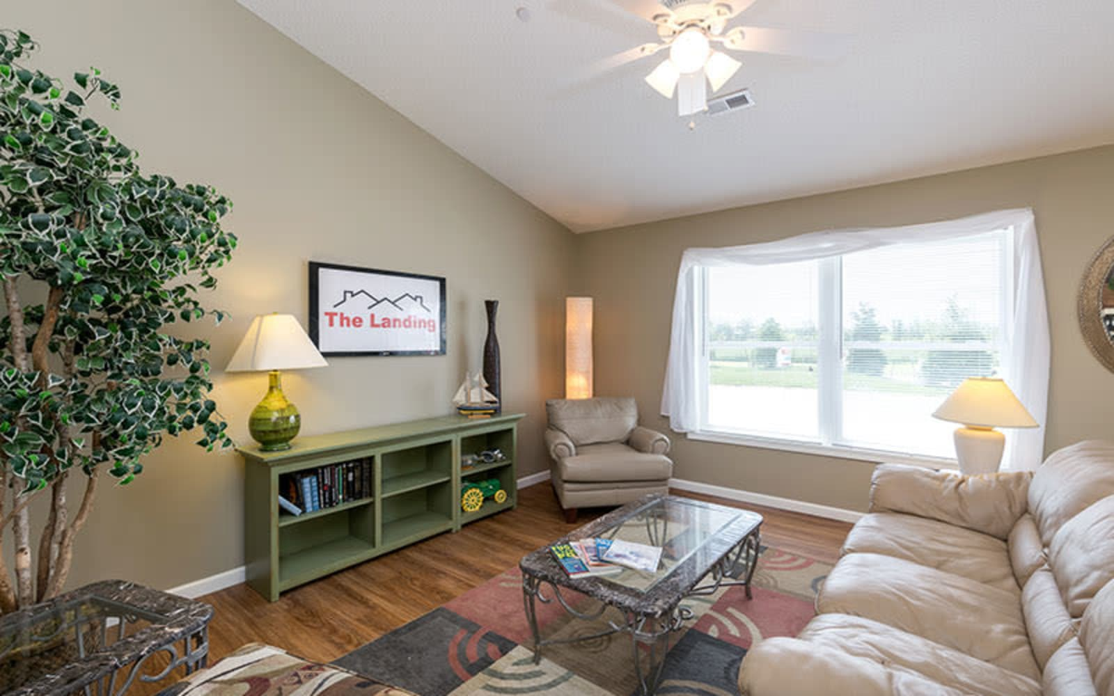A furnished living room at The Landing of Clinton in Clinton, Iowa