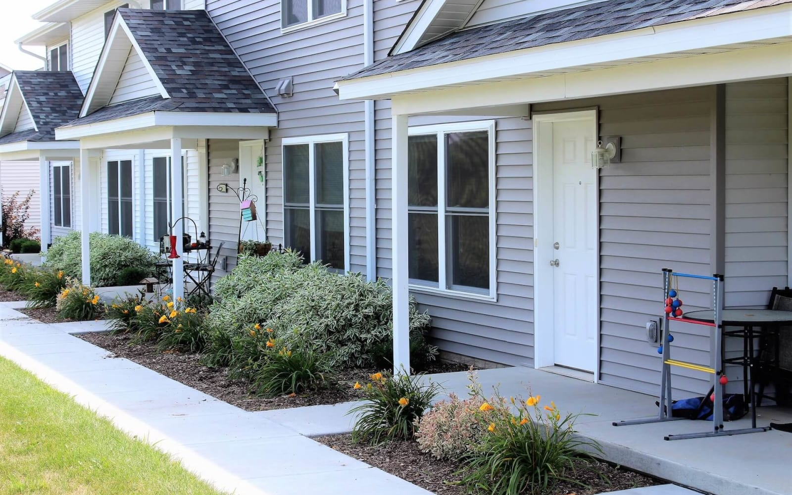 Front entrances to townhomes at The Landing of Clinton in Clinton, Iowa