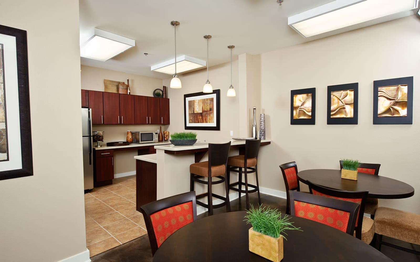 Kitchen and living room at Crescent Club in New Orleans, Louisiana