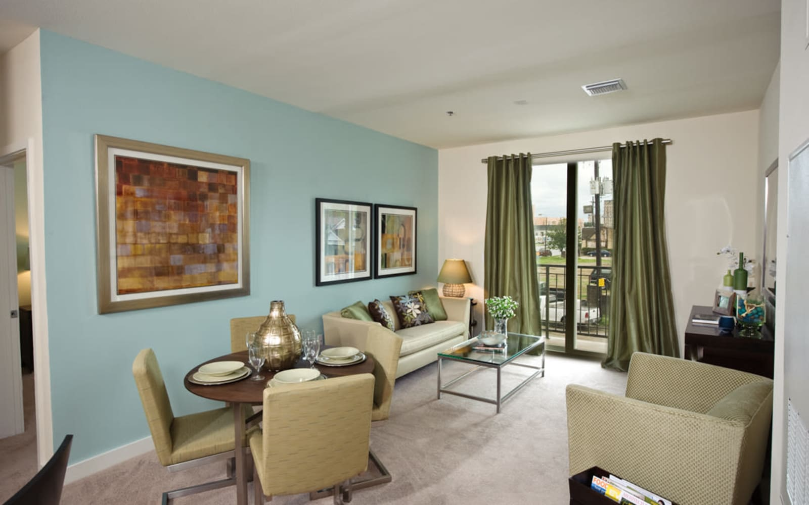 Living room in model apartment at Crescent Club in New Orleans, Louisiana