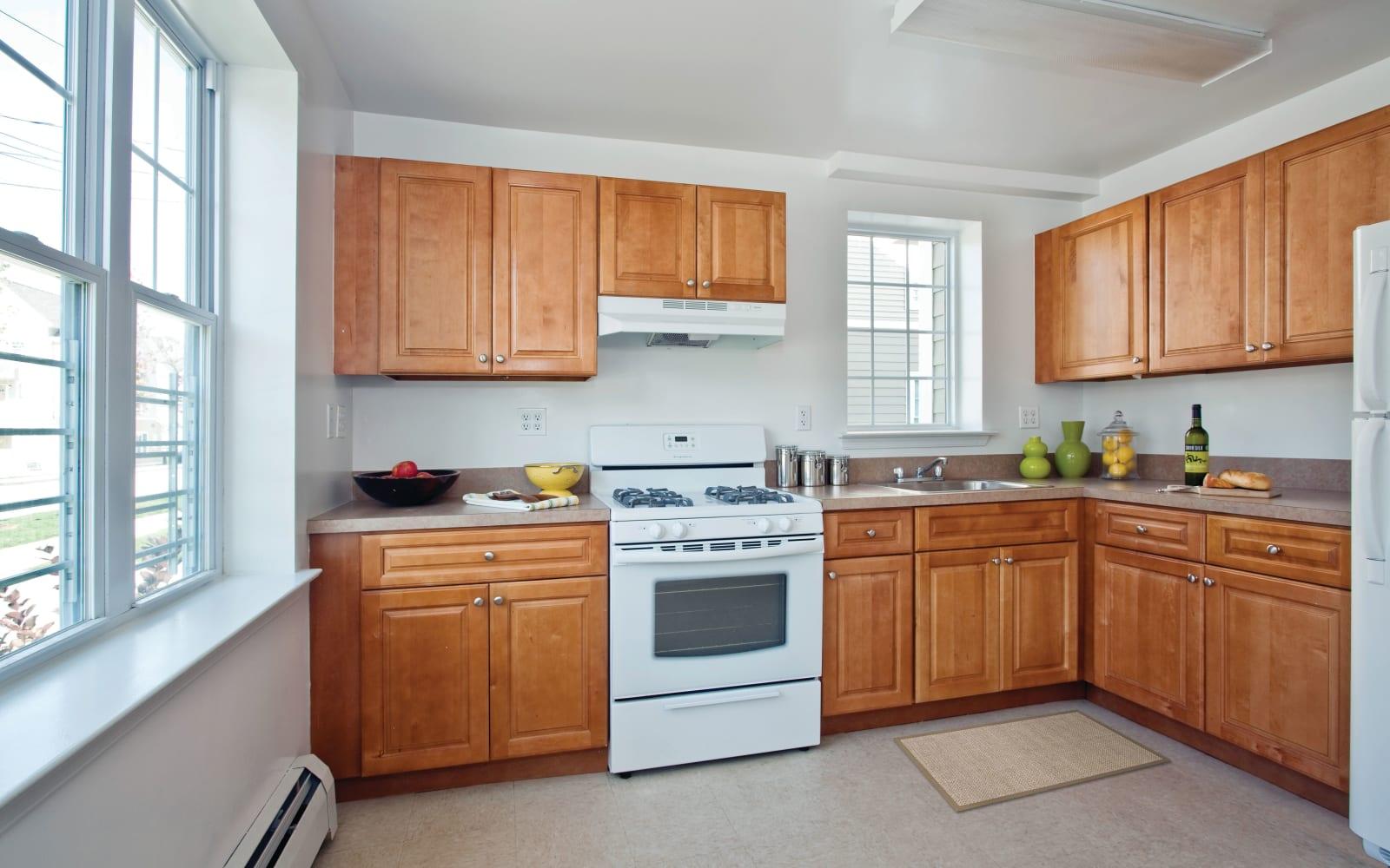 Spacious kitchen at Markham Gardens in Staten Island, New York
