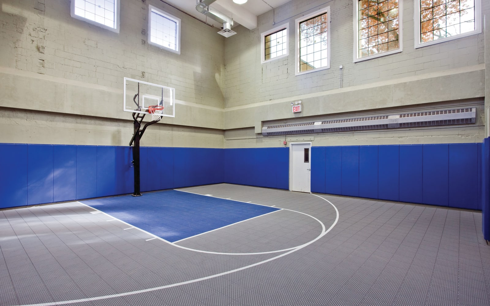 Indoor basketball court at Markham Gardens in Staten Island, New York