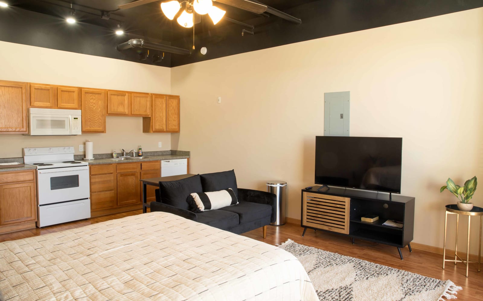 Studio apartment entry and kitchen at West Towne in Ames, Iowa